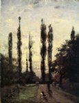 theodore clement steele original paintings - evening poplars by theodore clement steele