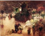 theodore clement steele acrylic paintings - flower mart by theodore clement steele