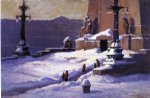 theodore clement steele acrylic paintings - monument in the snow by theodore clement steele