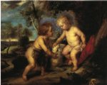 the christ child and the infant st. john after rubens by theodore clement steele original paintings