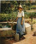 theodore robinson famous paintings - at the fountain by theodore robinson