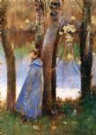 theodore robinson famous paintings - figure in a landscape by theodore robinson