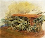 theodore robinson watercolor paintings - garden bench with ferns by theodore robinson