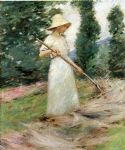 theodore robinson famous paintings - girl raking hay by theodore robinson
