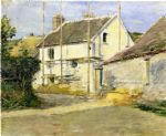 theodore robinson watercolor paintings - house with scaffolding by theodore robinson