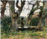 theodore robinson watercolor paintings - italian landscape with a fountain by theodore robinson