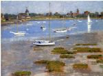 theodore robinson watercolor paintings - low tide the riverside yacht club by theodore robinson