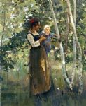 theodore robinson famous paintings - mother and child by the hearth by theodore robinson