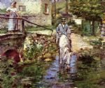 theodore robinson pere trognon and his daughter at the bridge painting