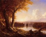 indian artwork - indian at sunset by thomas cole