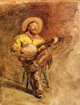 cowboy watercolor paintings - cowboy singing by thomas eakins