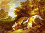 thomas gainsborough dogs chasing a fox painting-24502
