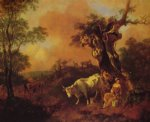 thomas gainsborough landscape with a woodcutter and milkmaid painting