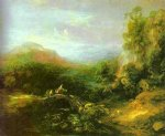 mountain landscape with peasants crossing a bridge by thomas gainsborough painting