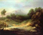 mountain landscape with shepherd by thomas gainsborough painting