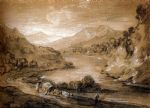 thomas gainsborough famous paintings - mountainous landscape with cart and figures by thomas gainsborough