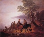 thomas gainsborough open landscape with mounted peasants painting-24527