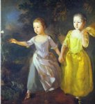 butterfly acrylic paintings - the painter s daughters margaret and mary chasing butterfly by thomas gainsborough
