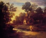 thomas gainsborough wooded landscape with cattle by a pool and a cottage at evening painting
