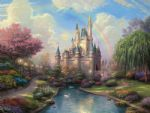 a new day at the cinderella s castle by thomas kinkade painting