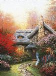 thomas kinkade autumn at ashley s cottage painting