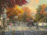 autumn on mackinac island by thomas kinkade painting
