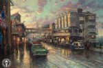 cannery row sunset by thomas kinkade painting