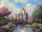 thomas kinkade disney A New Day at the Cinderella Castle art