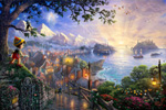 thomas kinkade disney Pinocchio Wishes Upon A Star art