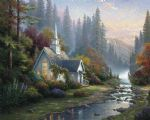 forest chapel by thomas kinkade painting