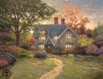 gingerbread cottage by thomas kinkade painting