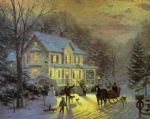 home for the holidays by thomas kinkade painting