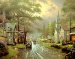 hometown evening by thomas kinkade painting