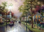 hometown morning by thomas kinkade paintings