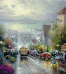 hyde street and the bay san francisco by thomas kinkade paintings