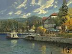 thomas kinkade lake arrowhead painting-80072