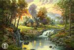 chinese acrylic paintings - mountain retreat by thomas kinkade