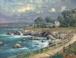 thomas kinkade seaside village oil paintings