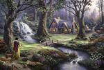 thomas kinkade snow white discovers the cottage painting