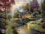 thomas kinkade stillwater cottage painting-82772