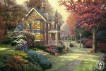 victorian autumn by thomas kinkade painting