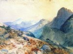 deer art - a deer in a mountain landscape by thomas moran