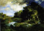 a pastoral landscape by thomas moran painting