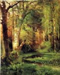 forest famous paintings - forest scene by thomas moran