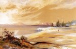 thomas moran hot springs on the shore of yellowstone lake posters