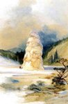 thomas moran the hot springs of gardiners river extinct geyser crater painting