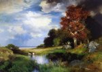 view of east hampton by thomas moran painting