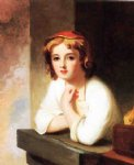 thomas sully art - girl leaning at a window by thomas sully