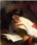 thomas sully famous paintings - portrait of a girl reading by thomas sully