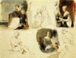 thomas sully famous paintings - sheet of figure studies by thomas sully